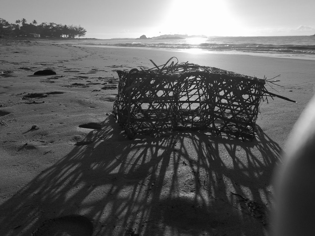 Lobster trap on a beach in Madagascar