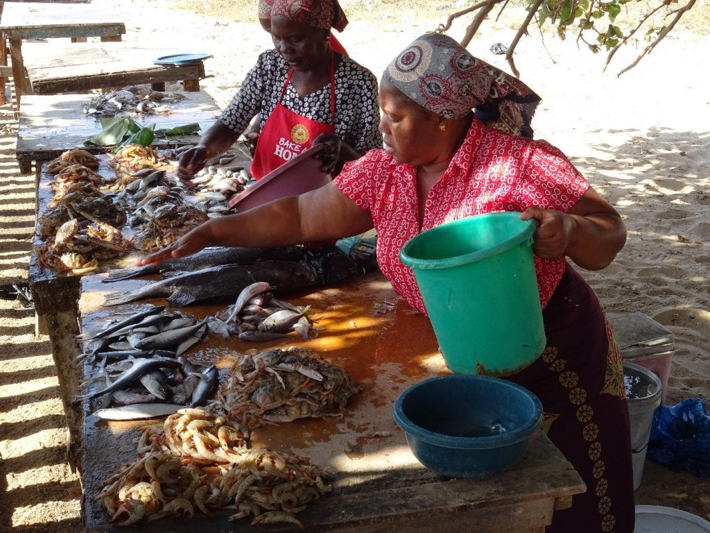 At the fish and sea food stall near the Maputo-Katembe ferry quayside July 2019
