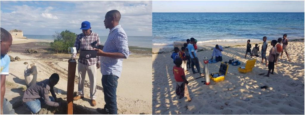 Dr Nordino Muaievela and Leovigildo Cumbe with the Installation of the CoastSnap station in Ilha de Moçambique and beach survey