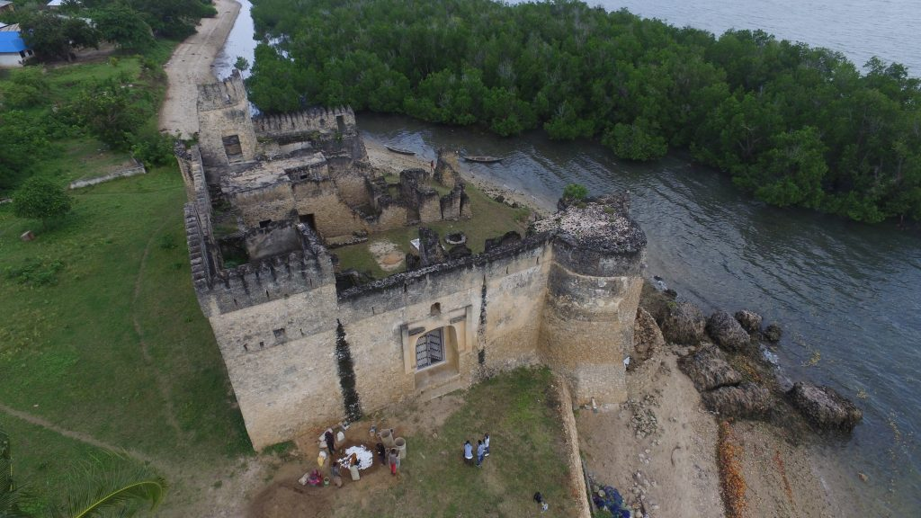 The gereza (fort), part of the remaining monuments indicative of civilization in Kilwa Kisiwani Island