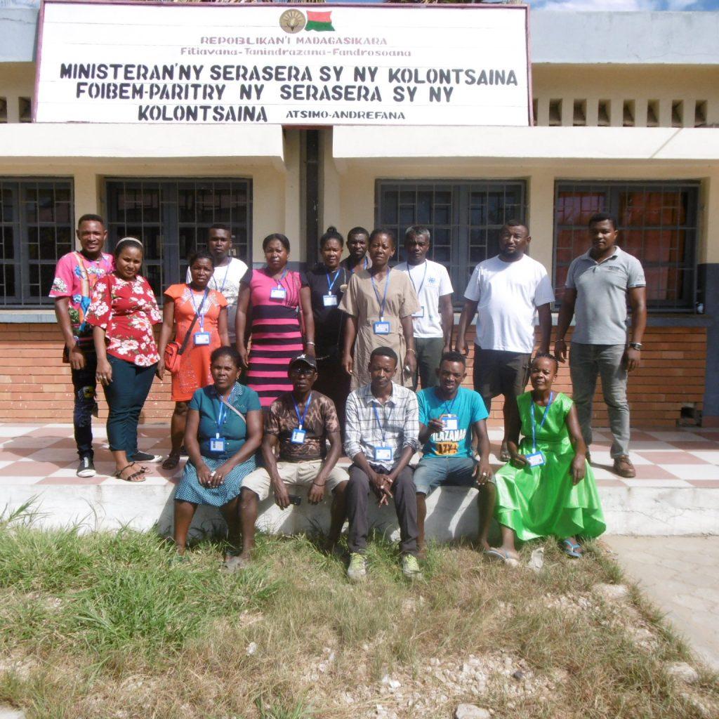 Project team sat outside ministeranny serasera
