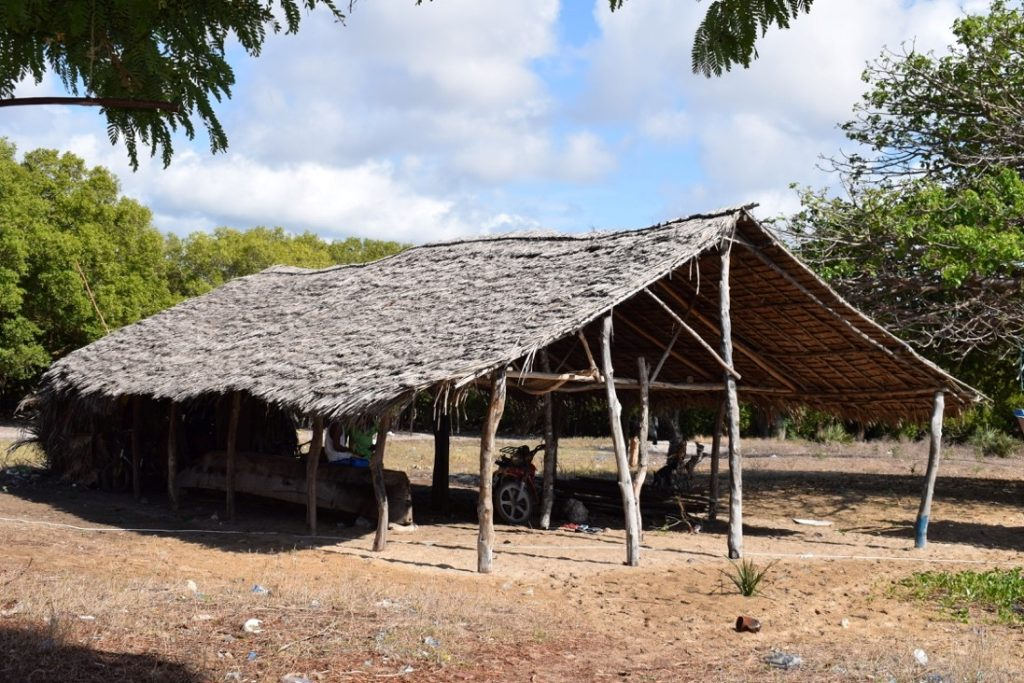 Boat-house at Uyombo. Note the architectural features replicated in the MUCH to Discover at Mida Creek 'dhow house' [Photo Credits: Field Activity, Uyombo, May 2019]