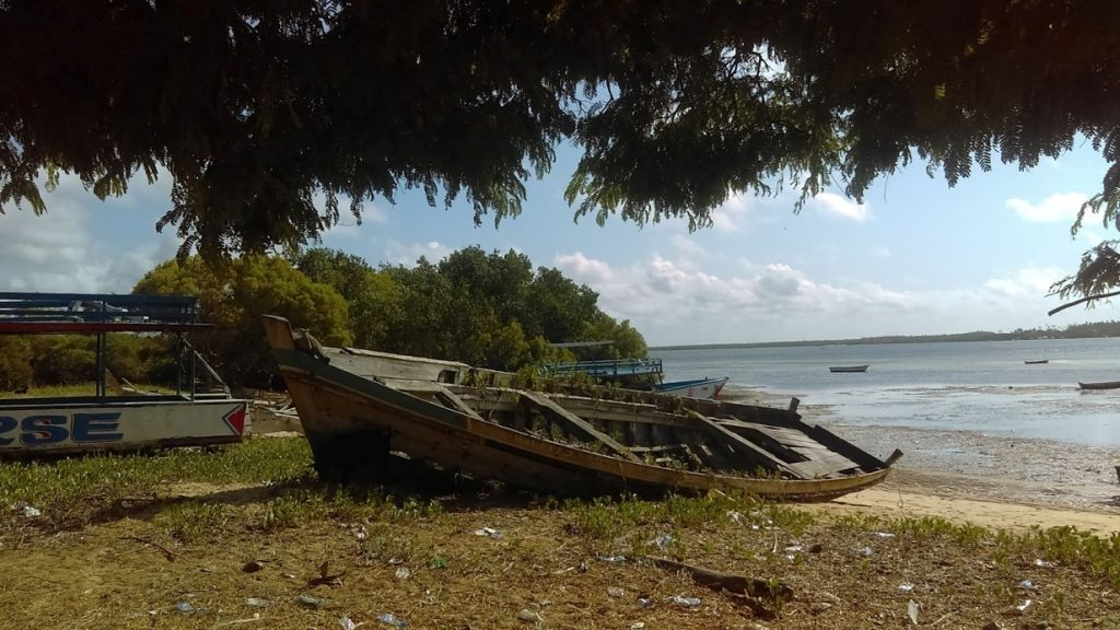 The Mavuvi 2 was built as part of a community project and now lies beached at Uyombo. A typical mashua, a vessel of this kind had many uses, including cargo haulage and pelagic fishing. [Photo credit: Field Activity, May 2019]