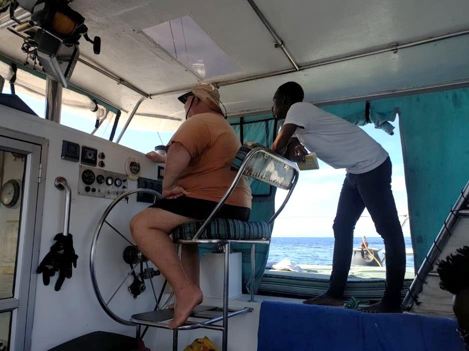 Survey work underway on SV Bom Dia at Ilha de Mozambique