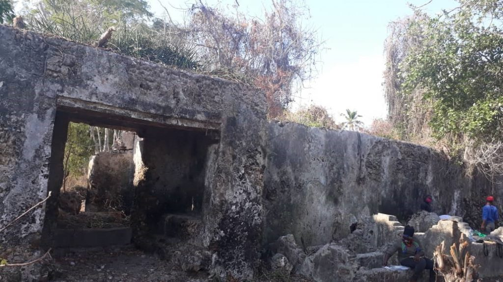 Remains of the ruins at Mgao associated with the French slave trade in Tanzania