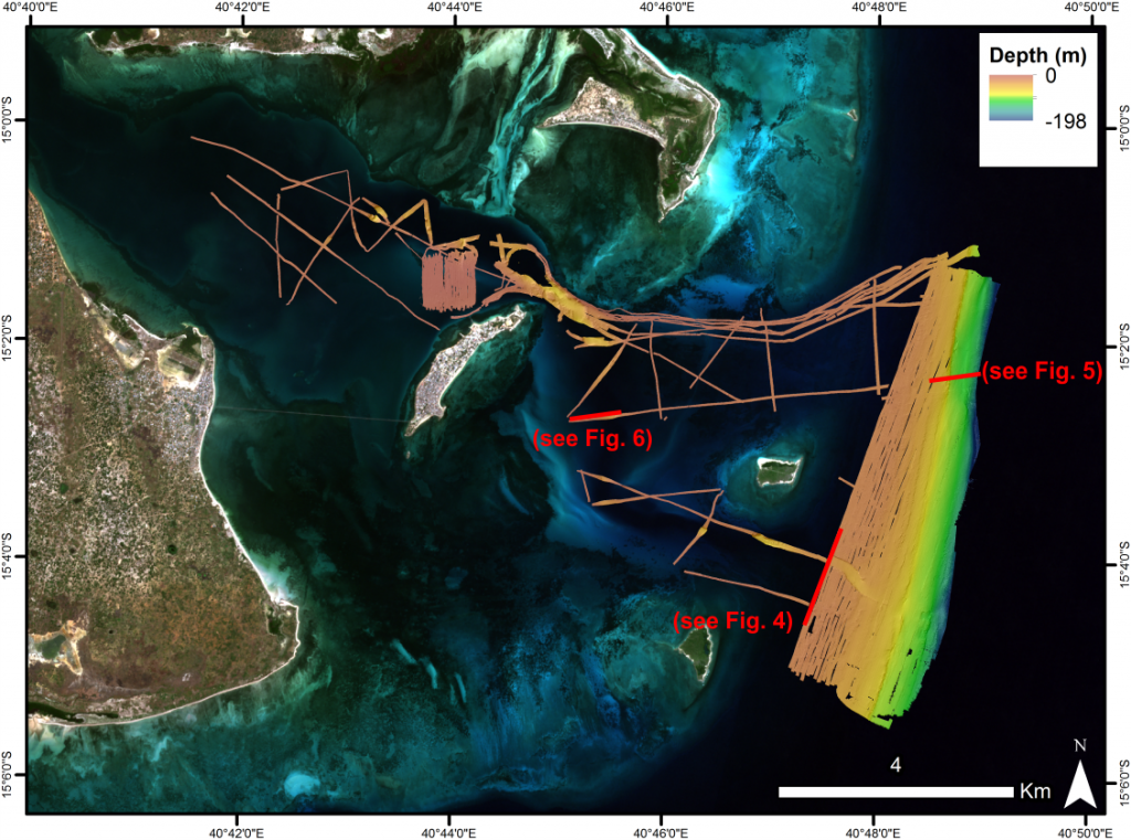 1_Moz_correc[1] The survey area at Ilha de Mozambique. Red lines indicate location of SBP data shown in subsequent figures.