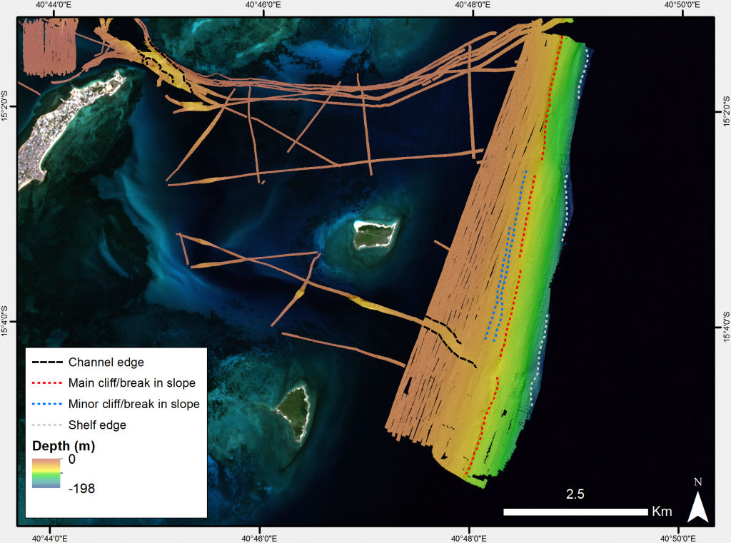 [2] Potential submerged landscape features visible on the offshore part of the MBES data