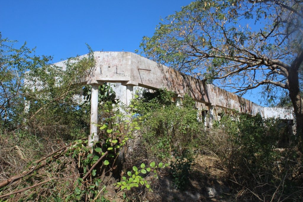 "Famous boat-shaped building from the Senna Sugar States Lda era ""mezingo"" in abandoned status, Chinde."