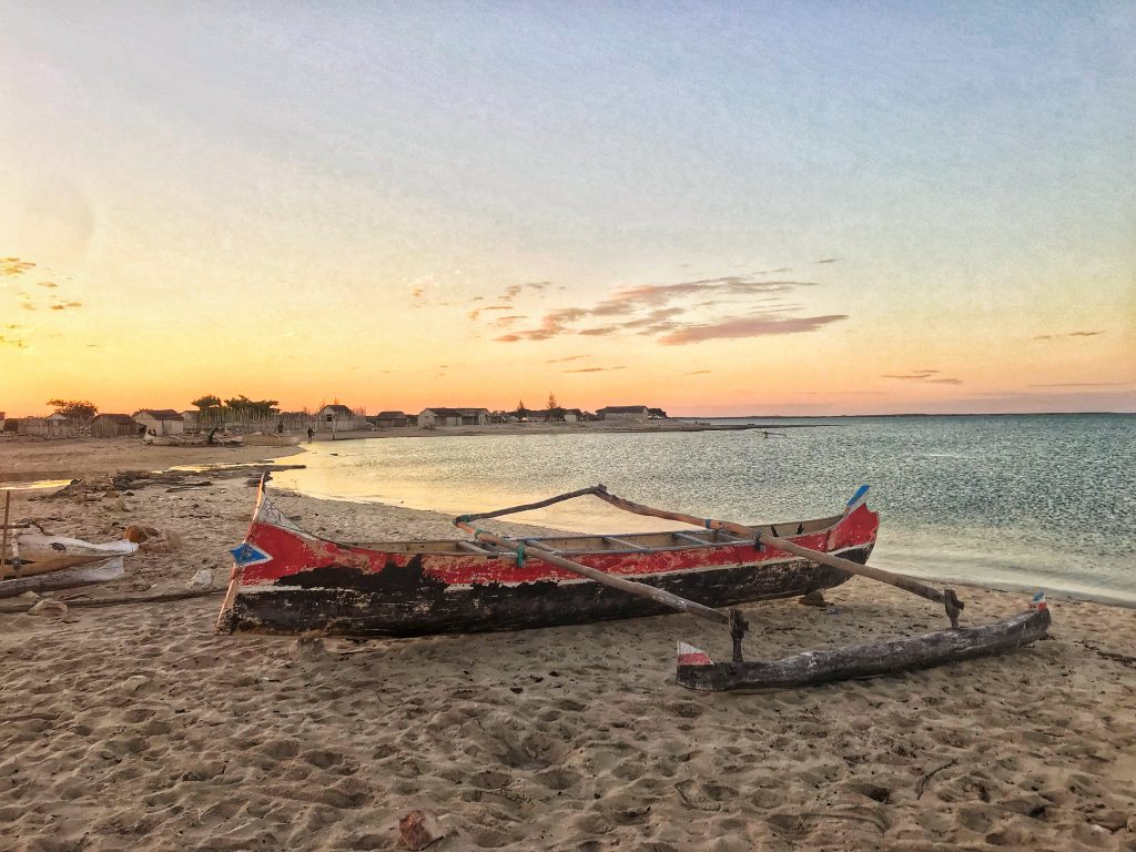 Fig 1 Pirogue at sunset, southwest Madagascar