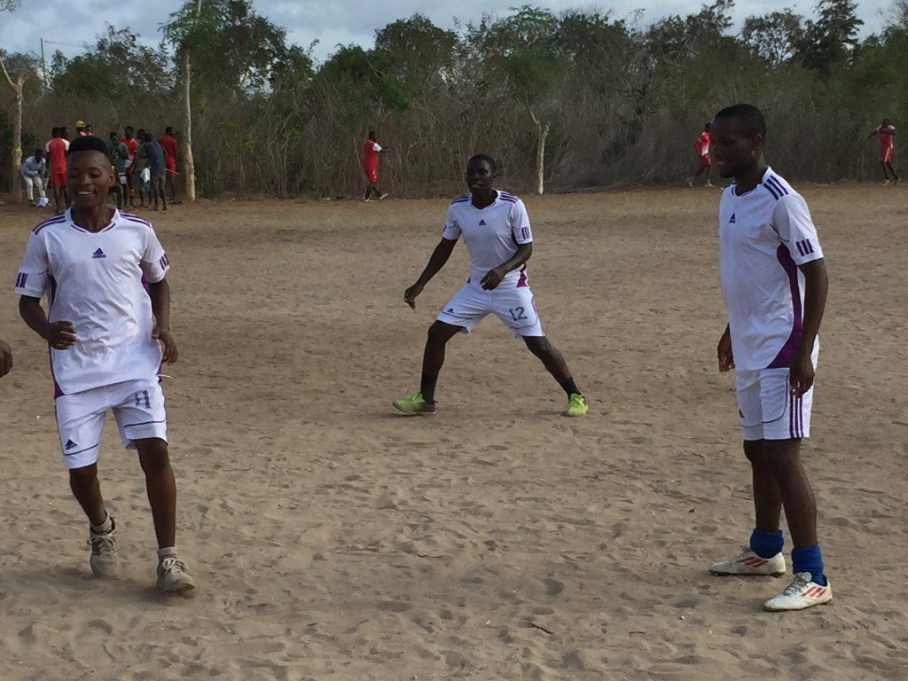 Participants playing football at Mgao sports day