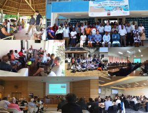 Various images from scoping meetings showing UK based researchers meeting UNESCO, NGOs, individual stakeholders, scientists and children in East Africa